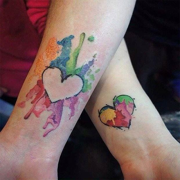 Mother Daughter Watercolor Heart Tattoos