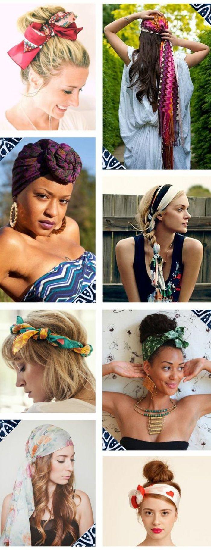 bandana frisuren, blonde haare, haare hochstecken, halskette