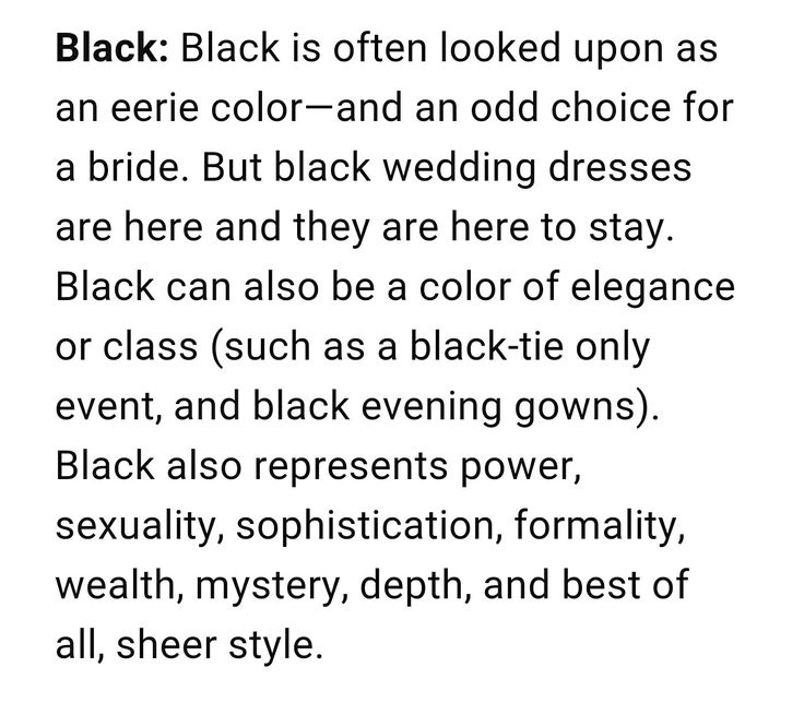 Black Wedding Dress Meaning = Elegance and Class! 💕