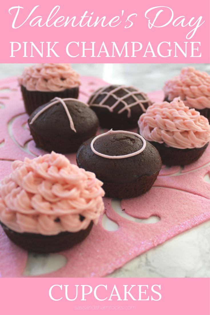 Pink Champagne Chocolate Cupcakes