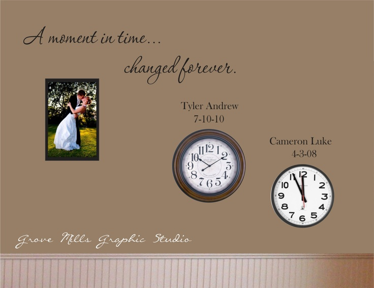 family wall decal custom wall decal a moment in time changed forever with set of names and dates family room family room decor family wall and