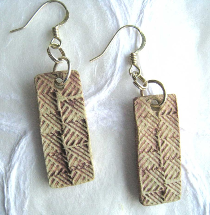 Jewelry earrings made in 39 ancient 39 pale red in paper clay for Paper clay projects