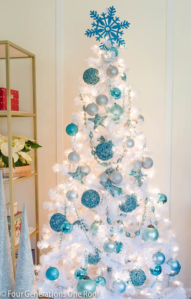 Best 25 white christmas trees ideas on pinterest white for Blue gold and white christmas tree