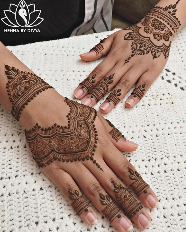 """9,584 Likes, 15 Comments - Indian Wedding Buzz (@indianweddingbuzz) on Instagram: """"These cuffed henna designs by @HennaByDivya are great inspiration for those upcoming summer…"""""""