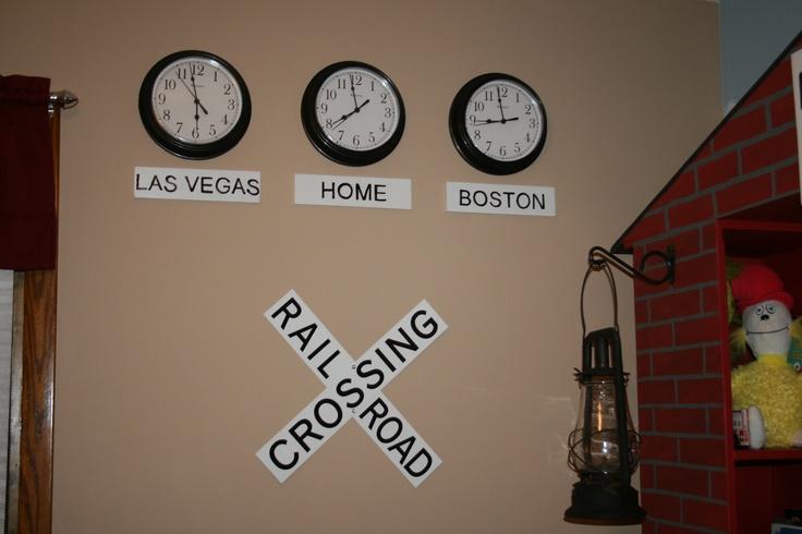 Landon's train station bedroom - clocks