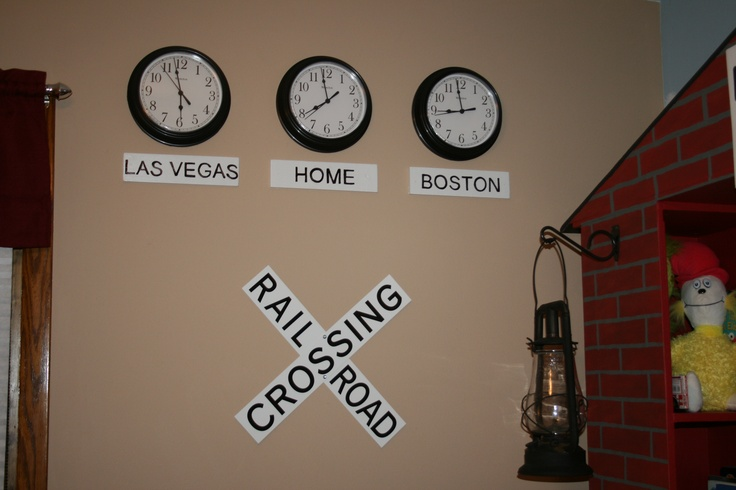 Landon's train station bedroom - clocks