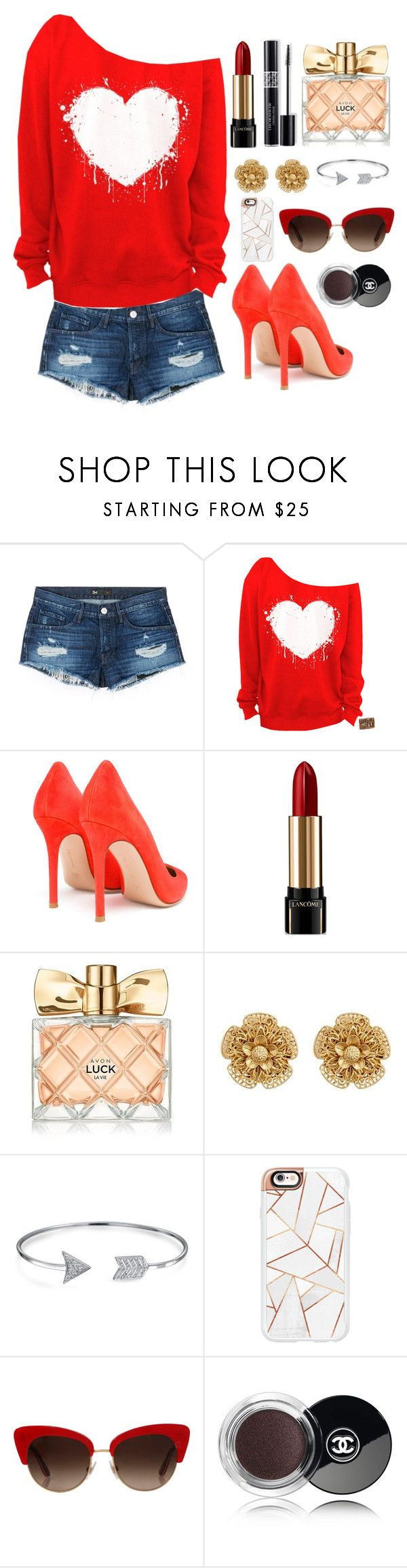 """""""Hyuna red"""" by littleheartz ❤ liked on Polyvore featuring 3x1, Gianvito Rossi, Christian Dior, Lancôme, Avon, Miriam Haskell, Bling Jewelry, Casetify, Dolce&Gabbana and Chanel"""