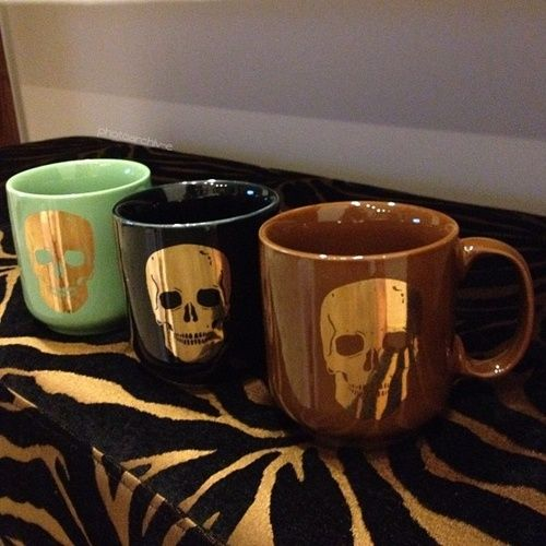 Skull coffee mugs, for when you feel like death before that first cup. So like always