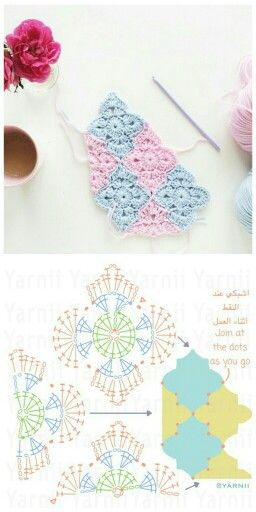 Crochet Moroccan tiles motif with diagram ♡  http://yarnii.blogspot.ae/?m=1