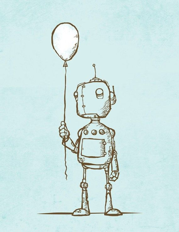 Cute Robot Art Prints 3 pack by Opafaf on Etsy