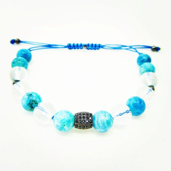 Larimar  Crystal Quartz Silver Bracelet 925 by SilversandStones