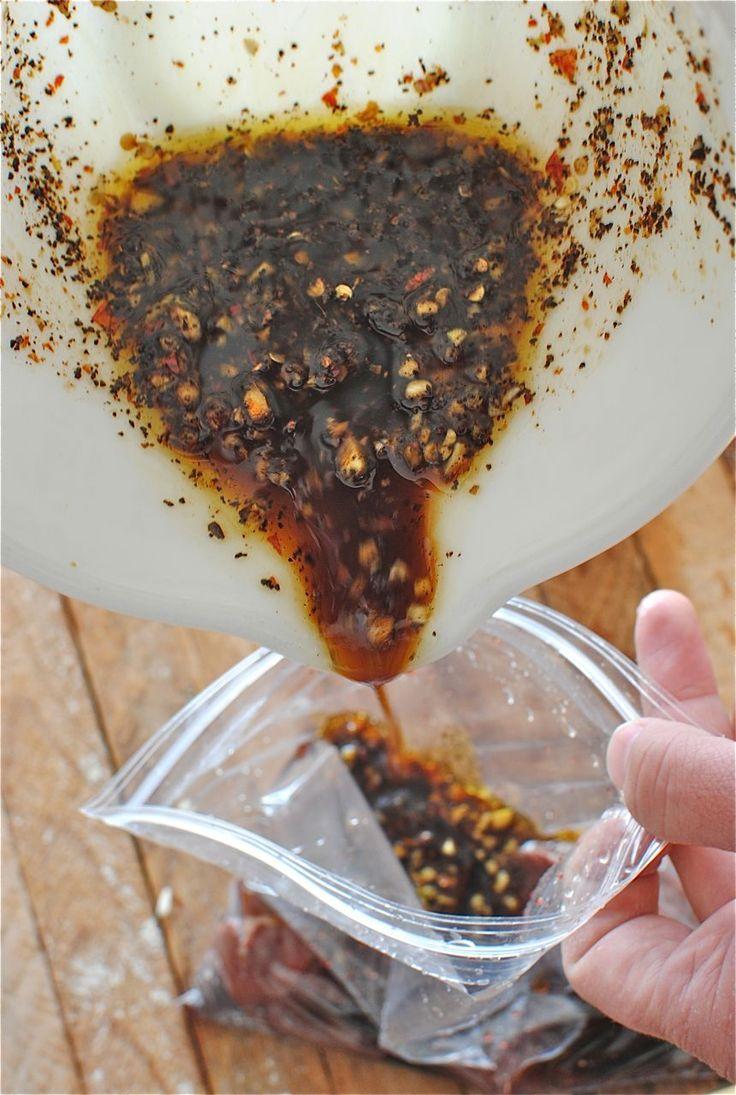 Steak Marinade    * 3 Tbs. extra-virgin olive oil  * 2 Tbs. soy sauce  * 2 Tbs. worcestershire sauce  * 2 Tbs. honey  * 2 Tbs. Dijon mustard  * 2 Tbs. freshly minced ginger  * 3 cloves garlic, minced  * 1 pinch crushed red pepper  * 1/2 tsp coffee grounds