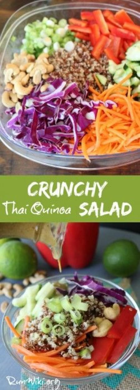 Crunchy Thai Quinoa Salad with a creamy peanut dressing- I love this recipe! The crunch of the veggies and the sweet-salty dressing make this something I could eat every day. I have served this at parties, potlucks, game day, and as a side dish- so healthy. Clean eating that tastes delicious.