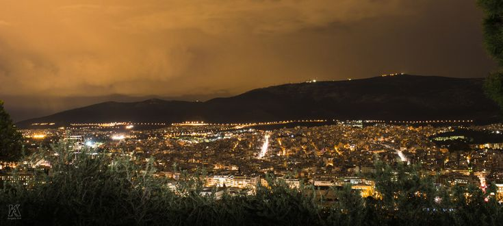 City lights - Long exposure night photo from Mount Lycabettus in Athens, Greece.