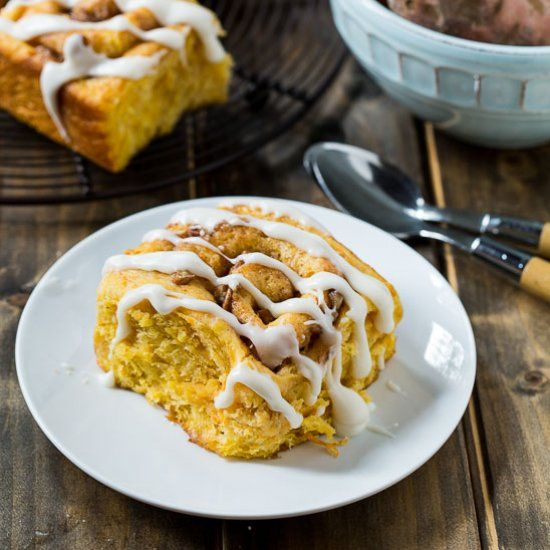 Tender and moist Sweet Potato Cinnamon Rolls with a brown sugar-pecan filling.