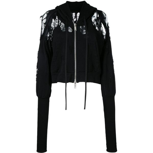 Unravel Project distressed detail crop length zip-up hoodie ($800) ❤ liked on Polyvore featuring tops, hoodies, black, hooded pullover, cropped hoodies, cropped zip up hoodie, zip up hoodie and cotton zip up hoodie