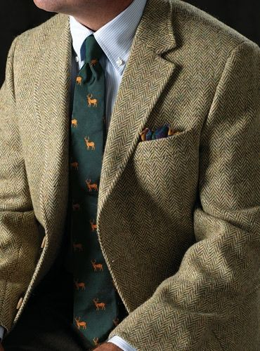 Sage And Cream Herringbone Harris Tweed Sport Coat Fall