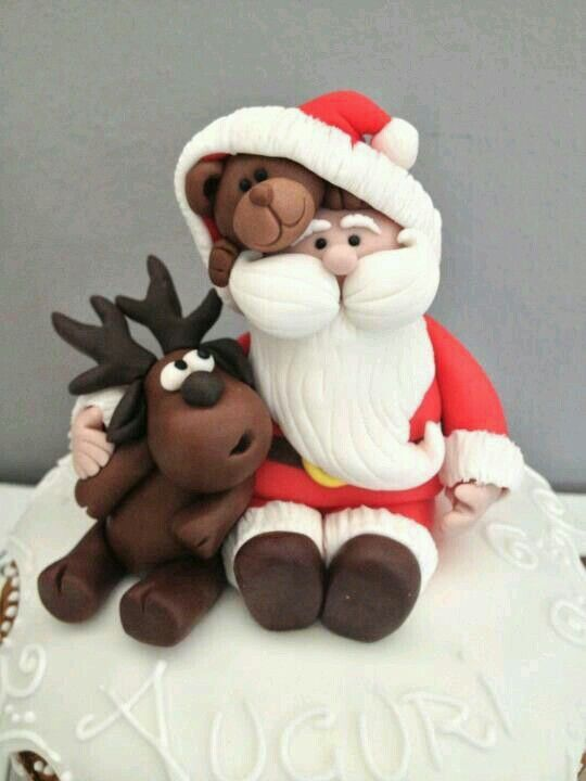 Santa, reindeer, bear polymer clay