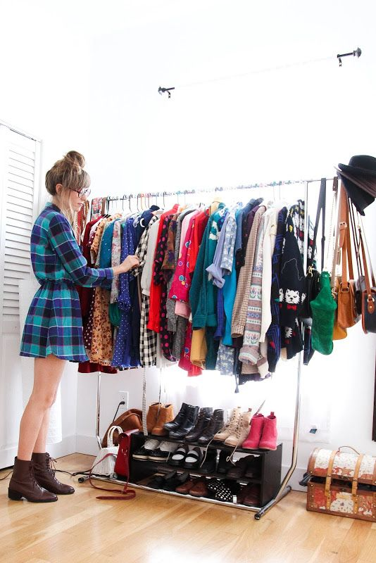 No closet? No problem! Make your own using a clothing rack. #solutions