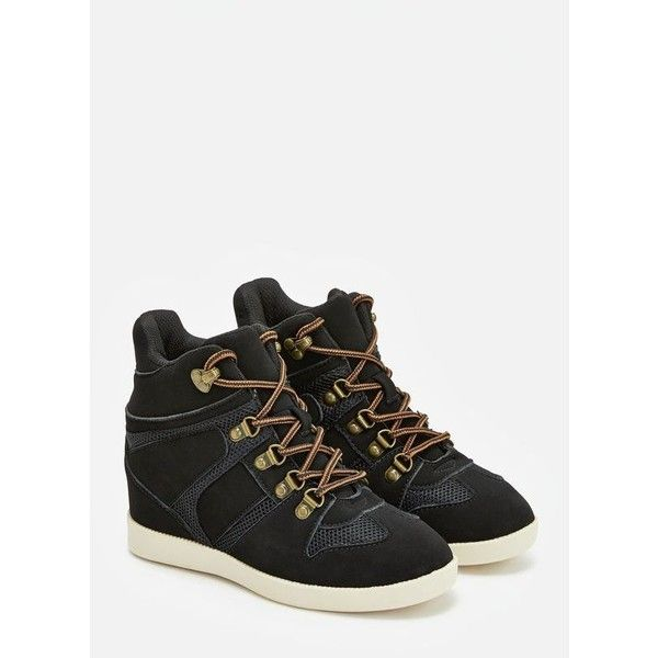 Justfab Sneakers Kelsa ($40) ❤ liked on Polyvore featuring shoes, sneakers,  black