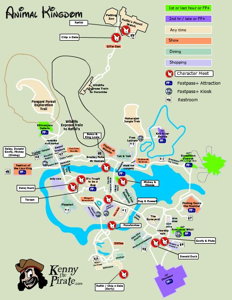 Animal Kingdom Map with character meet and greet locations ...