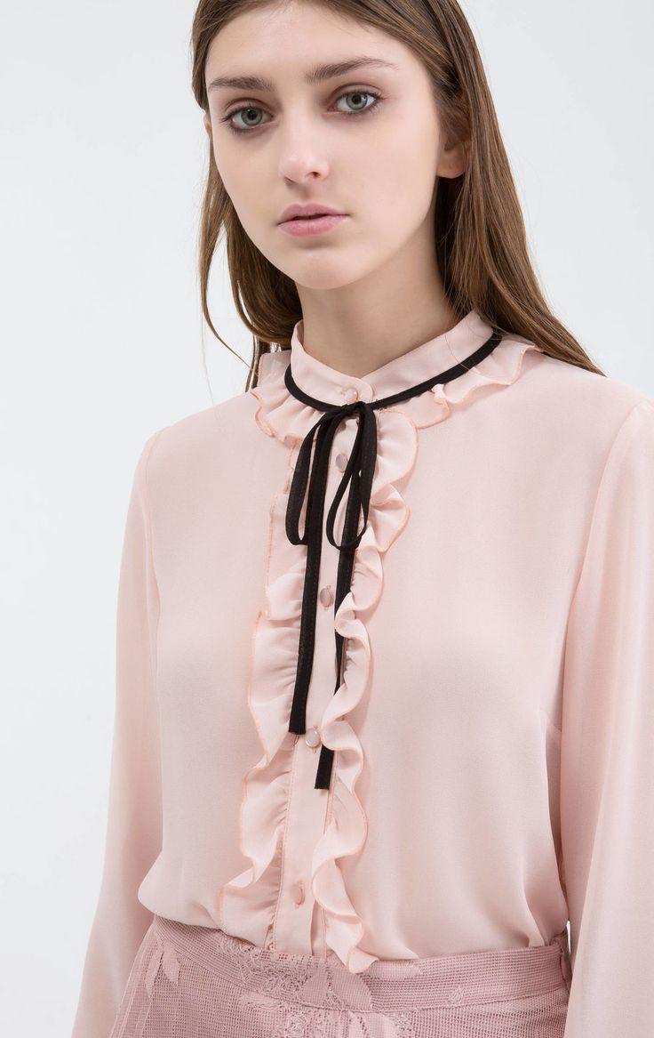 Blusa con laccetti a contrasto, Rosa polveroso