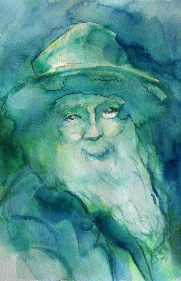 Walt Whitman. Pencil, Watercolor, Gouache.