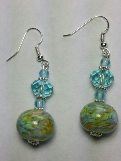 Lampwork glass bead earrings with crystal bead..