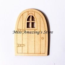 10 unids 100*70*3mm MDF Fairy Elf Hobbit Puerta En Forma de estilos de Arte De Madera DIY Favores(China)