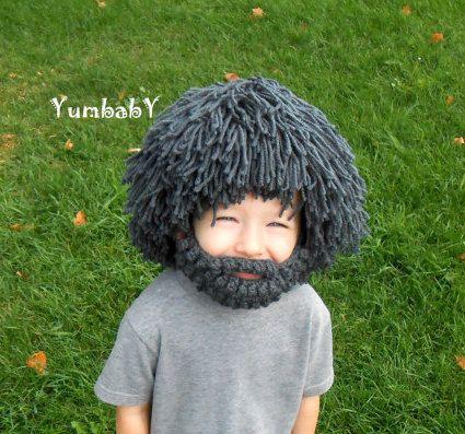 Wig Beard Hat Halloween Costume Any Color Hobo Mad