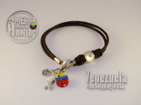 VENEZUELA Flag 2 mm Leather bracelet Venezuelan by cristhercastro, $8.99