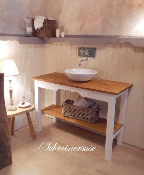 Badunterschränke - Waschtisch Vintage Weiss/Ornament/Natur - ein Designerstück von Schreinersuse bei DaWanda