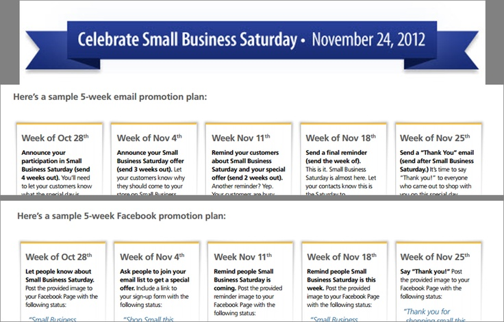 Small Business Saturday 5-Week Promotion Plan Small Business - promotion proposal sample