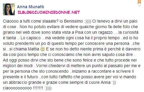 Anna Munafò confessa di vedersi con Mattia Morelli ex corteggiatore di Valentina Dallari