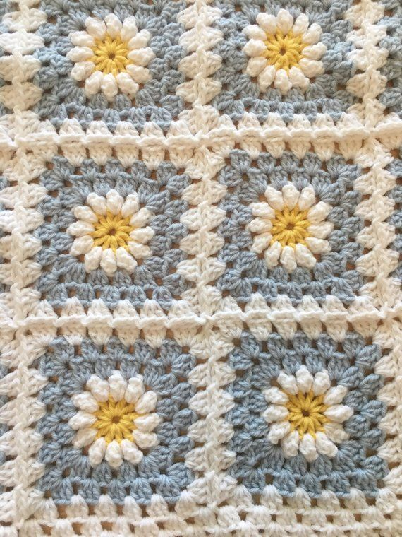100 Cotton Baby Blanket Daisy Granny Square Baby Blanket Etsy Cotton Baby Blankets Crochet Blanket Patterns Granny Square