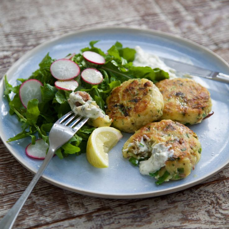 Smoked fish cakes with lemon caper mayo