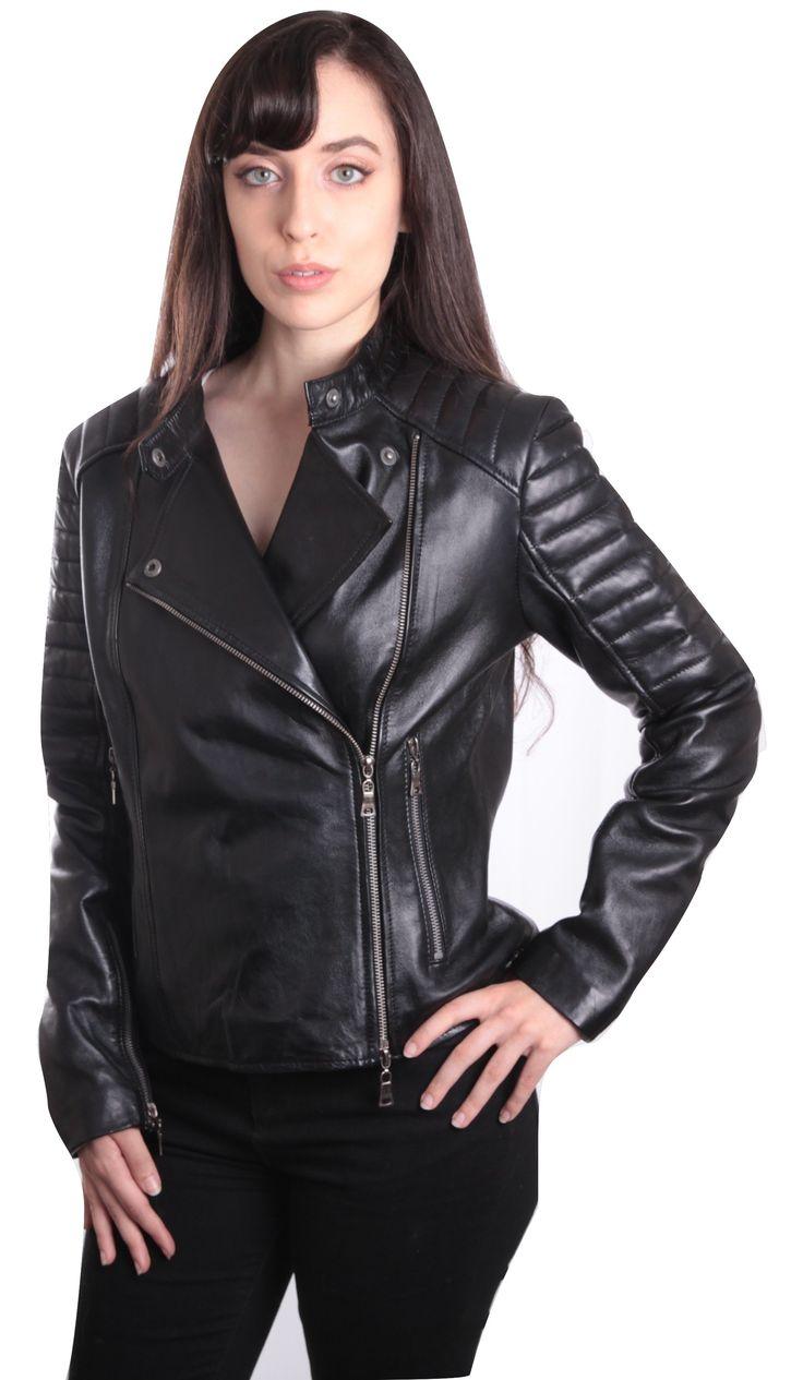 Ladies Bella Black Carla Leather Jacket