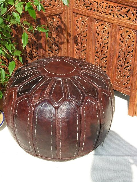 Moroccan hand stitched finest leather pouffe in natural finish. http://www.maroque.co.uk/showitem.aspx?id=ENT06284&p=00741