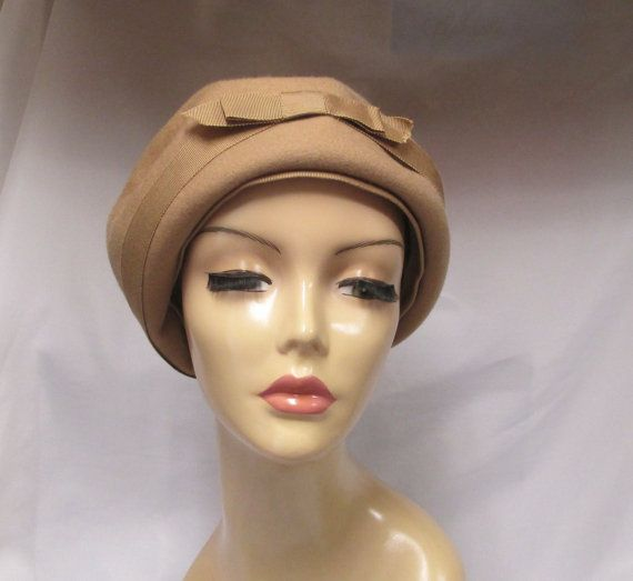 Vintage Camel Glenover Wool Hat Ladies Tan Pill Box by retrogal415