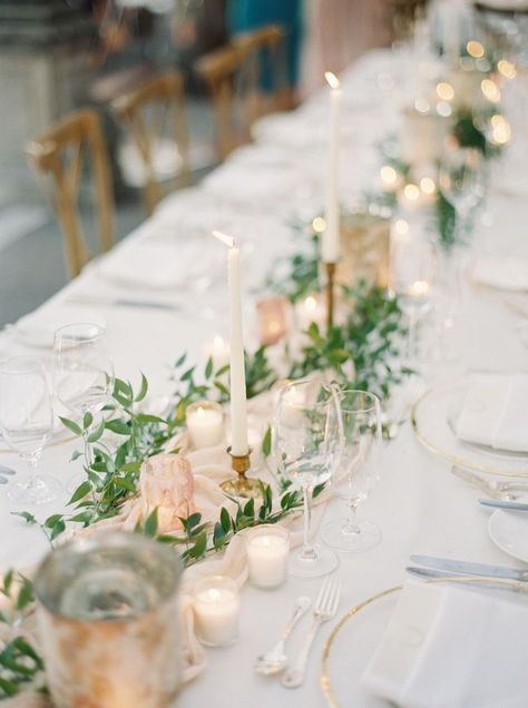 charming simple greenery and blush candle and fabric tablecloth decorated wedding table setting ideas #PinkWeddingIdeas