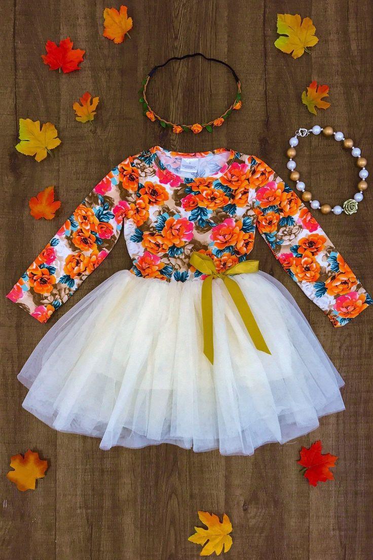 Orange Floral Tutu Dress
