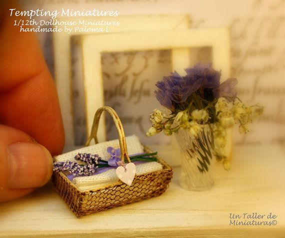 Vintage Wire Basket with Linen Towels and a by TemptingMiniatures