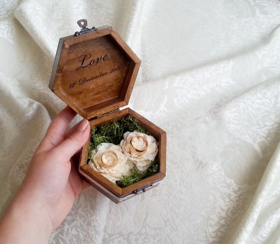 rustic wood burnt ring box with moss and fabric flowers