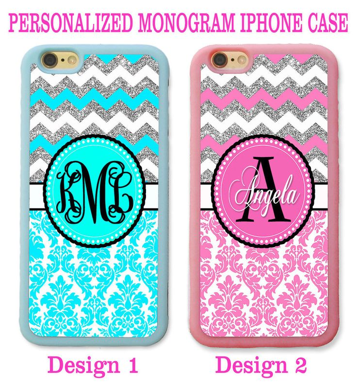 BLUE PINK DAMASK SILVER CHEVRON CUTE MONOGRAM CASE FOR IPHONE 7 6 6S PLUS SE 5S #UnbrandedGeneric