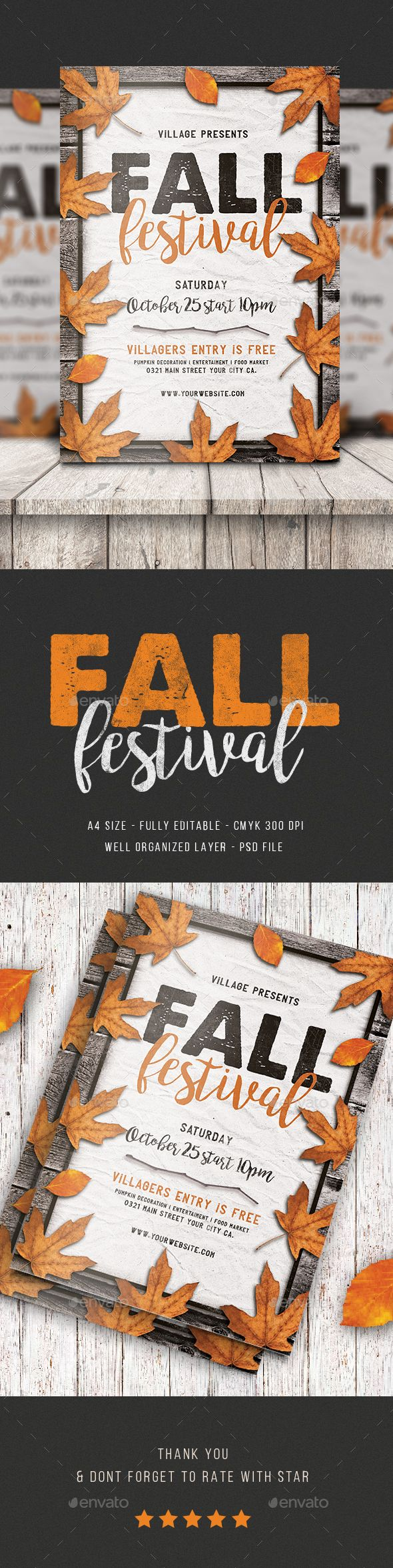 Fall Festival Flyer Design Template - Eventas Flyers Template PSD. Download here: https://graphicriver.net/item/fall-festival-flyer/17652574?ref=yinkira