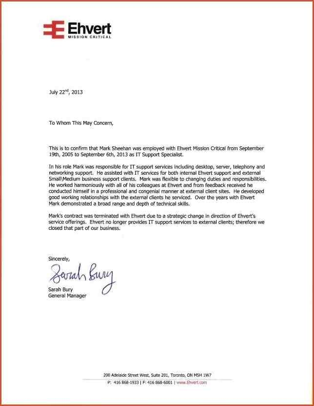 employer reference letter template letter template | Corner
