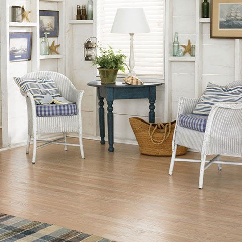 Blush Oak Textured Laminate Floor. Light Oak Wood Finish, 8mm 3 Strip Plank