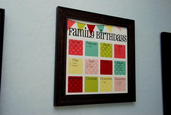 Family Birthday Calendar  Digital copy you print in by MayasHouse, $25.00