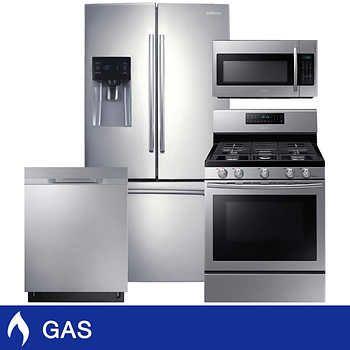 samsung 4piece gas 25cuft 3door french door kitchen suite in stainless