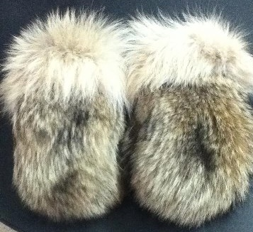 Inuit made coyote mitts by Nookiguak Seepa